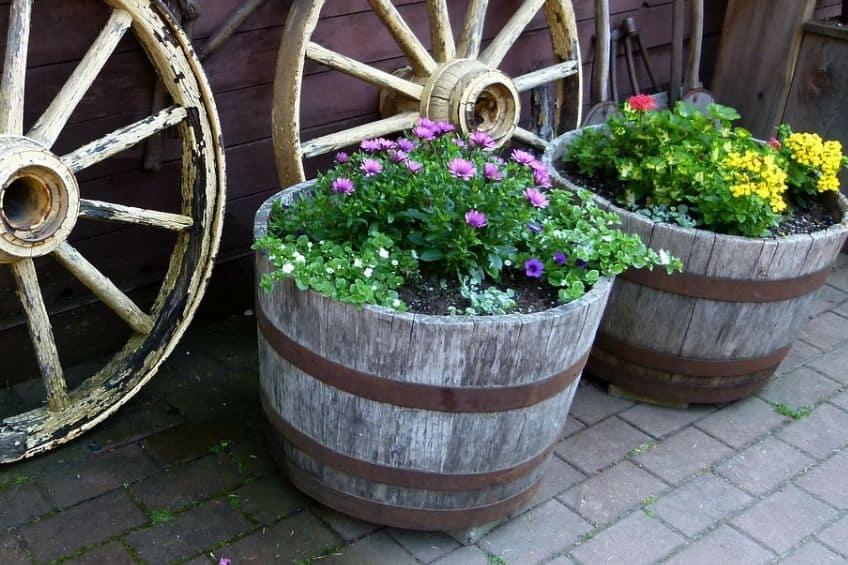 Upcycled barrel planter